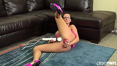 Slutty brunette bitch Tory Lane fucks her tight ass with a dildo