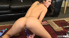 Petite Anna Morna works a thick dildo into her tight pink pussy
