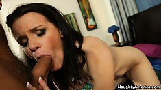 Raven gulps down his cock and gets on her knees for doggy fucking