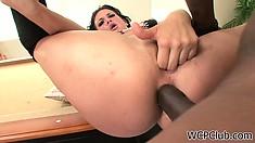Brunette momma fingers her snatch with a big black boner up her ass
