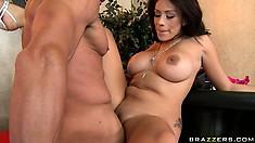Sweet brunette Jamie Valentine getting her snatch slammed hard