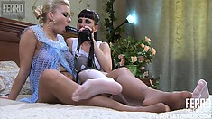 Madeleine and Virginia are a couple of old lesbians using a strap on